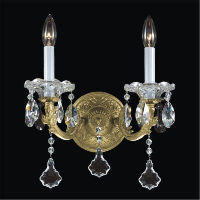 Old World Wall Sconces – 2 Light Crystal Wall Sconce | English Manor 546A
