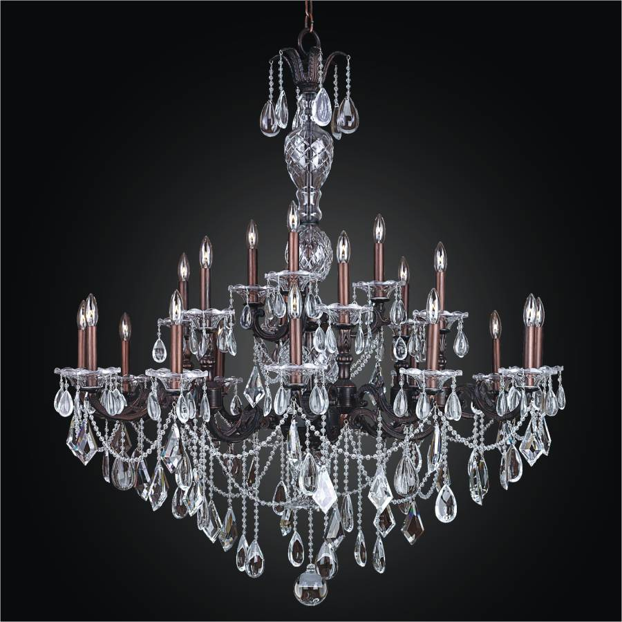 English Manor Wrought Iron Grand Foyer Crystal Chandelier By Glow Lighting
