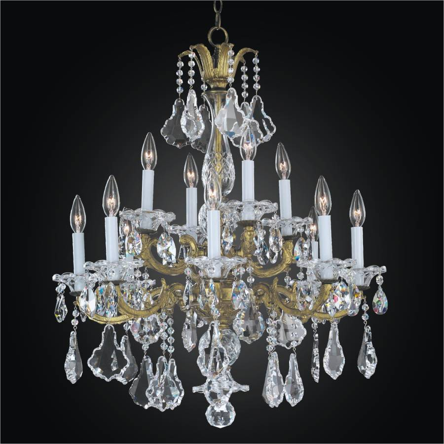 12 Light Chandelier - Metal and Crystal Chandelier | English Manor 546A by GLOW Lighting