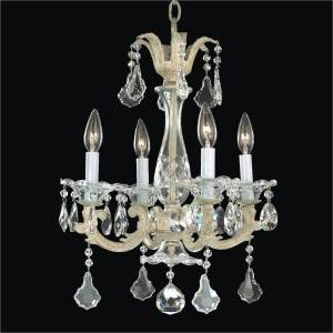 4 Light Chandelier - Metal and Crystal Chandelier | English Manor 546A by GLOW Lighting