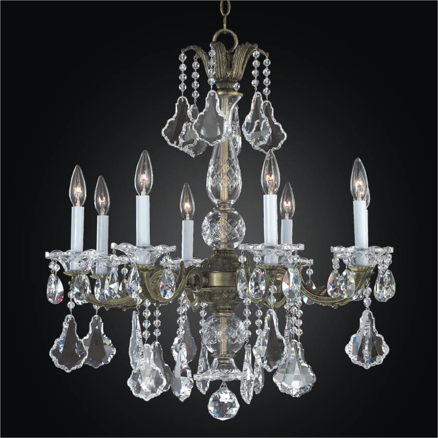 8 light Chandelier - Metal and Crystal Chandelier | English Manor 546A by GLOW Lighting