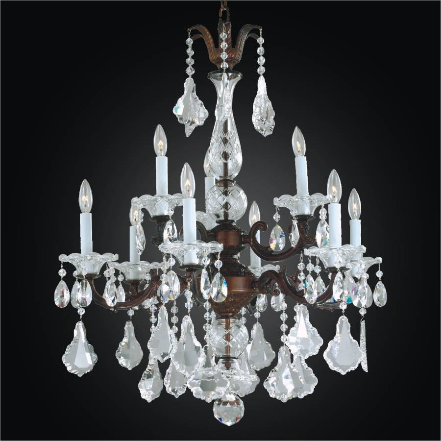 9 Light Chandelier Metal And Crystal English Manor 546a By Glow Lighting