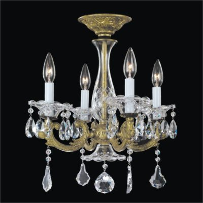 Old World 4 Light Crystal Flush Mount | English Manor 546A