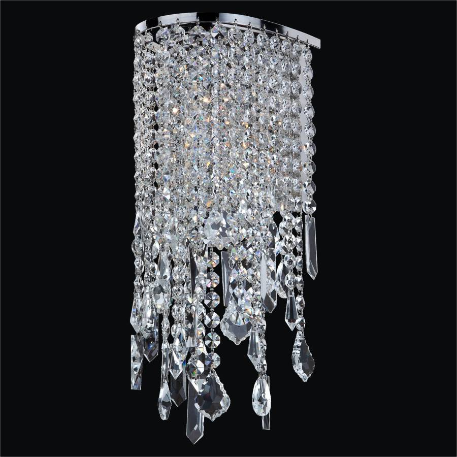 Wall Sconce Crystal Lighting : Crystal Sconce with Assorted Shaped Crystals Ensconced 611 GLOW Lighting