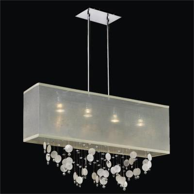 Rectangular Capiz Chandelier with Shade | Finishing Touches 007