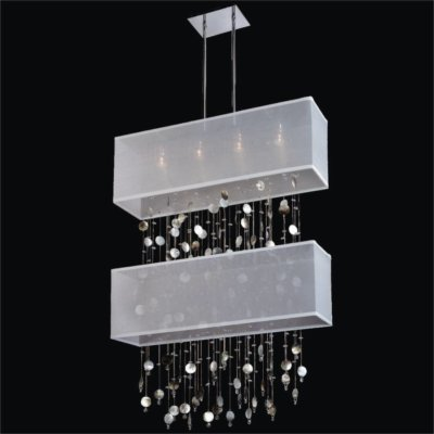 Rectangular Double Shaded Mother of Pearl Shell Pendant Chandelier | Finishing Touches 007