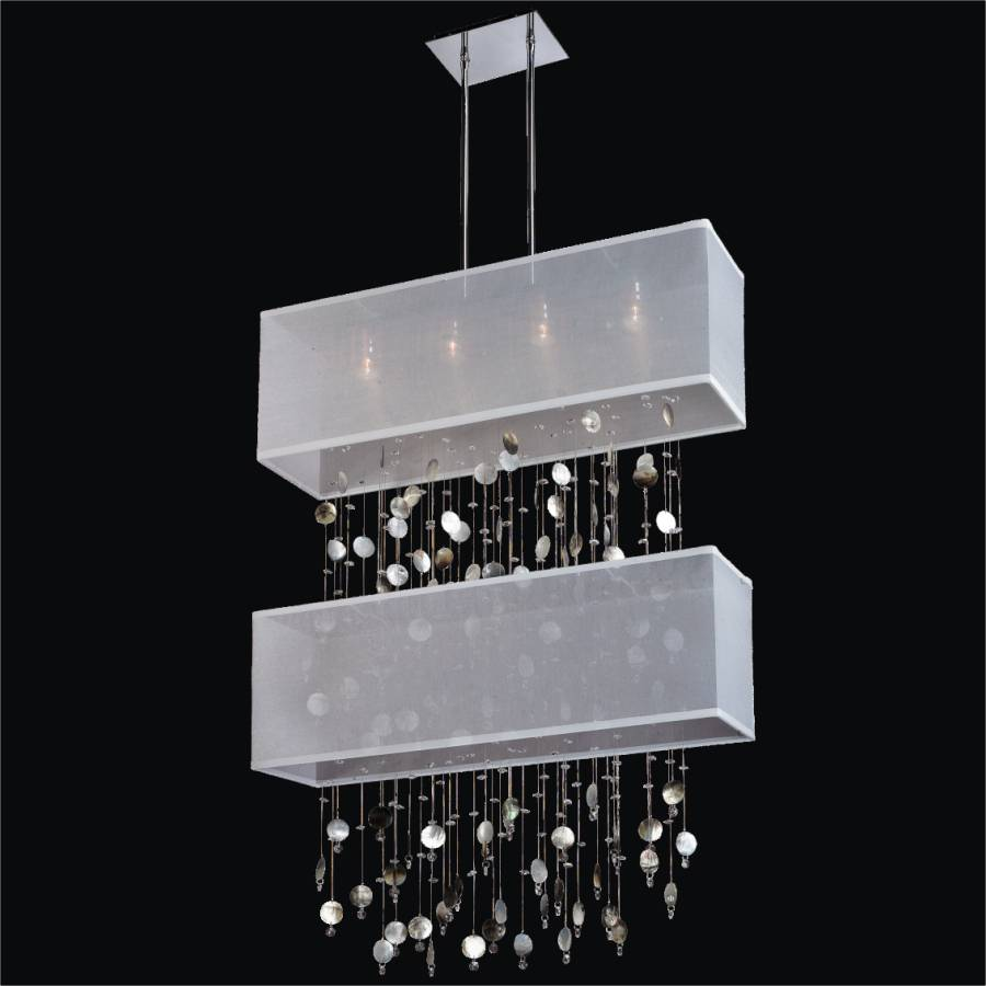 Mother of Pearl Light Fixture - Double Shade Chandelier | Finishing Touches 007P by GLOW Lighting