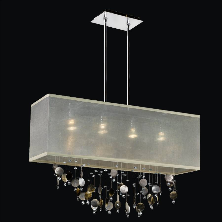 Mother of Pearl Chandelier - Rectangular Shade | Finishing Touches 007P by GLOW Lighting