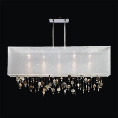 Rectangular Shade Chandelier with Mother of Pearl and Crystal | Finishing Touches 007