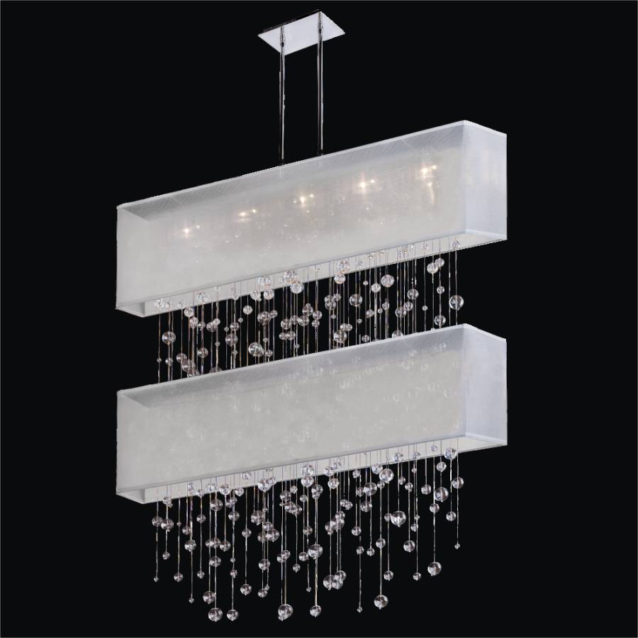 Rectangular Double Shaded Smooth Crystal Pendant Chandelier | Finishing Touches 007
