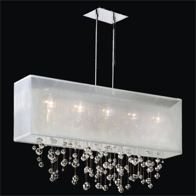 Linear Crystal Chandelier with Bead Trim and Shade | Finishing Touches 007