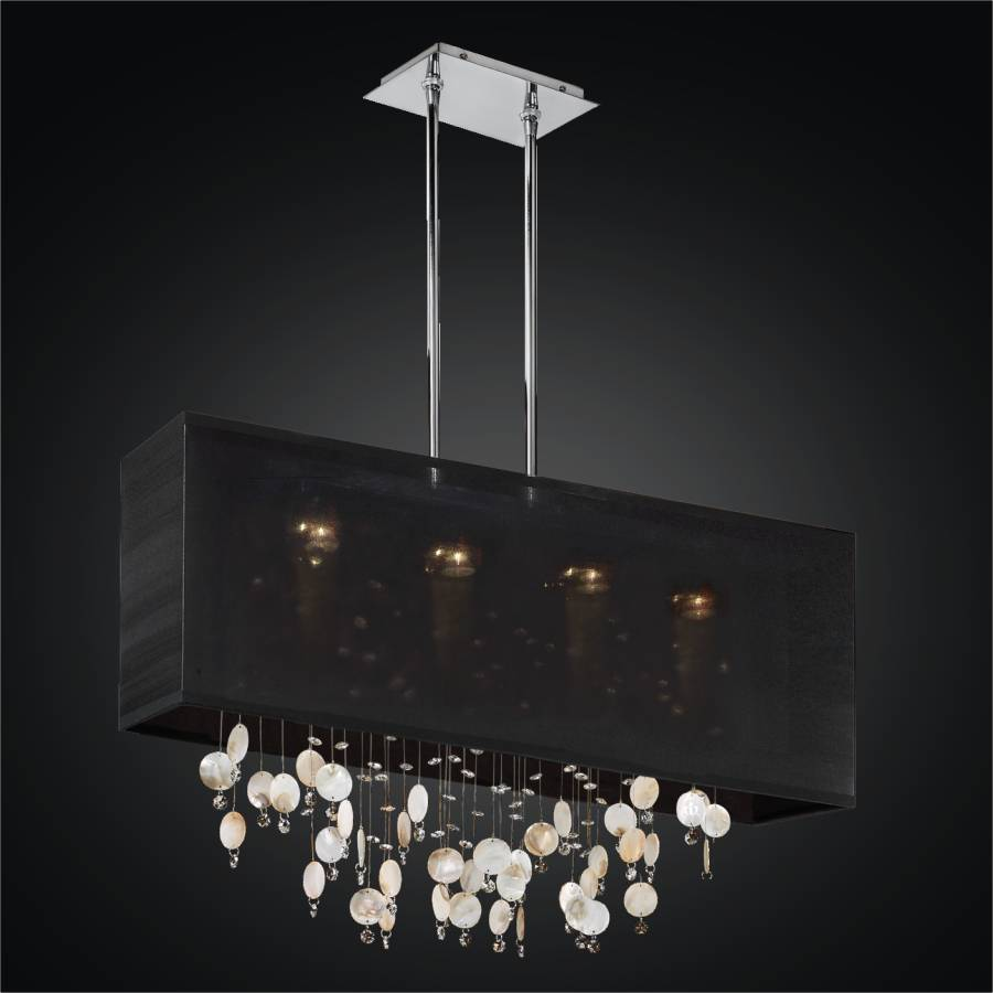 Oyster Shell Chandelier - Rectangular Shade Chandelier | Finishing Touches 007S by GLOW Lighting