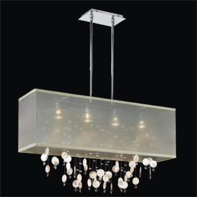 Rectangular Shaded Oyster Shell Pendant Chandelier | Finishing Touches 007