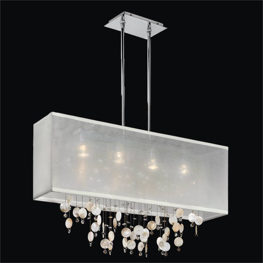 Oyster Shell Chandelier – Rectangular Shade Chandelier | Finishing Touches 007SM33SP-W-3C