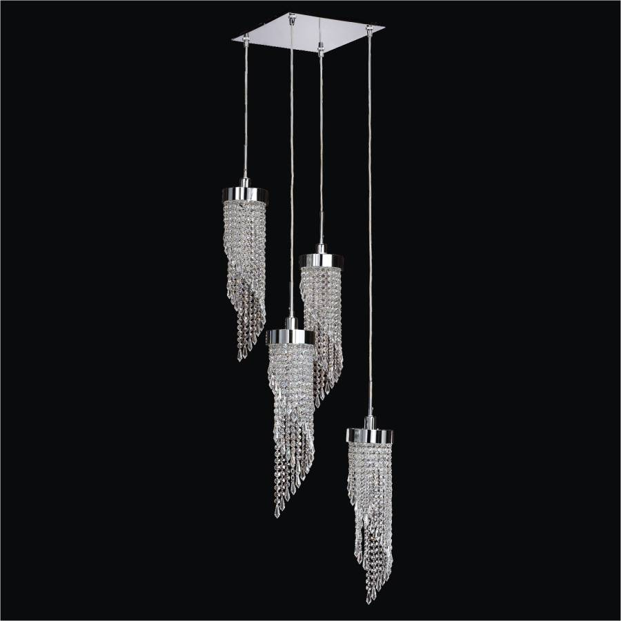 Square Flush Mount with Twisted Crystal Pendants   Intuition 609 by GLOW Lighting