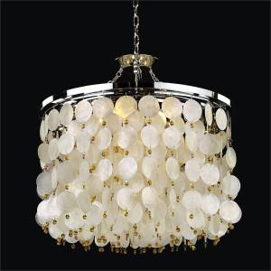 Capiz Shell Drum Chandelier | Island Paradise 587H by GLOW Lighting