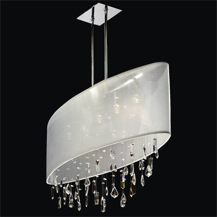Crystal Drop Chandelier – Oval Shade | Lifestyles 006MM45SP-W-3C-ANGLE