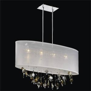 Mother of Pearl Chandelier - Oval Shade | Lifestyles 006P by GLOW Lighting
