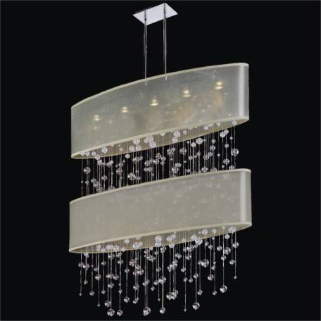 Oval Double Shaded Smooth Crystal Pendant Chandelier by GLOW Lighting