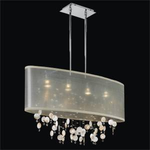 Seashell Chandelier - Oval Shade   Lifestyles 006S by GLOW Lighting