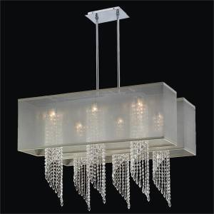 Spiral Crystal Chandelier - Rectangular Shades | Ocean Wave 617 by GLOW Lighting
