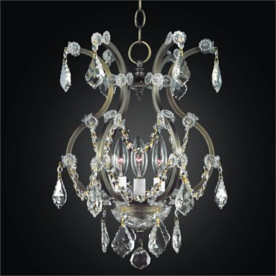 Wrought Iron 3 Light Crystal Mini Chandelier | Old World Iron 543