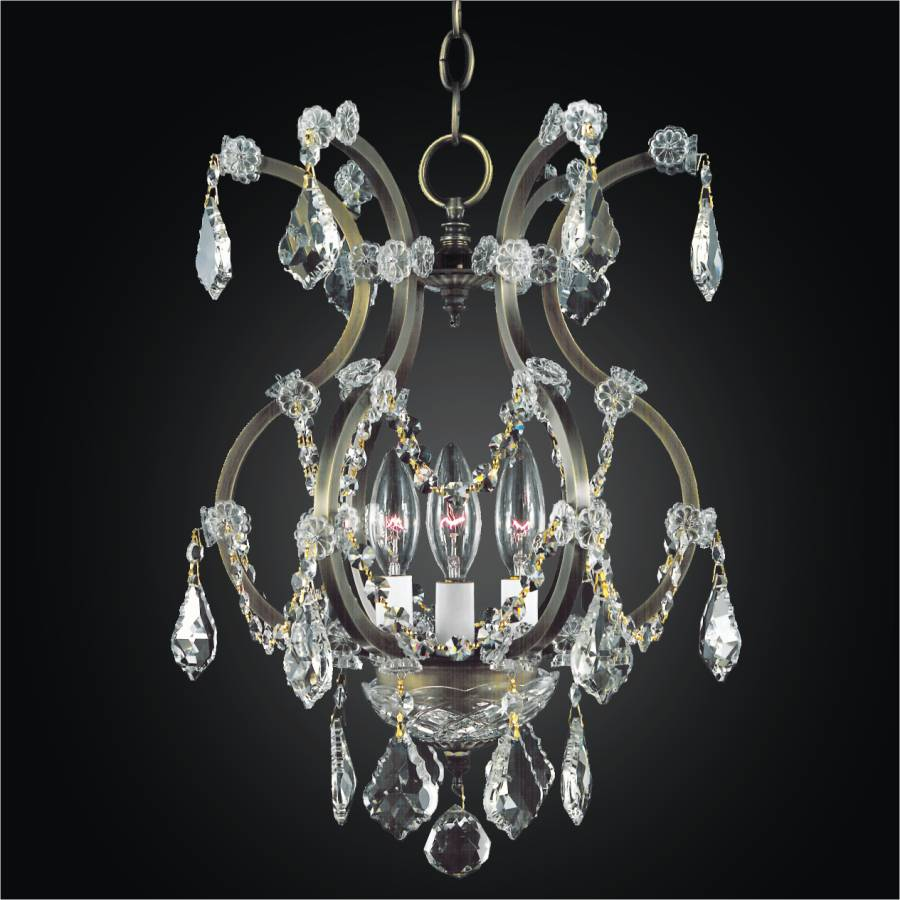 Iron and Crystal Chandelier - Mini Crystal Chandelier | Old World Iron 543 by GLOW Lighting