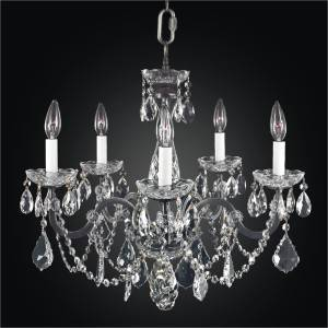 Iron and Crystal Chandelier - 5 Light Chandelier | Old World Iron 543A by GLOW Lighting