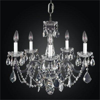 Wrought Iron 5 Light Crystal Chandelier | Old World Iron 543
