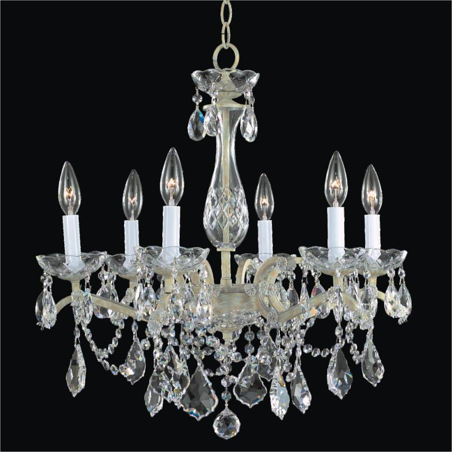 Iron and Crystal Chandelier - 6 Light Chandelier | Old World Iron 543A by GLOW Lighting