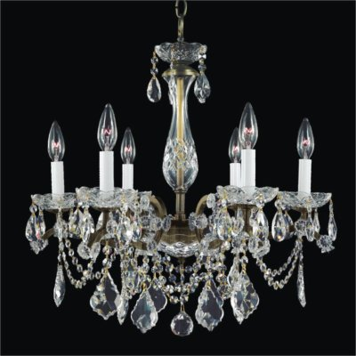 Wrought Iron 6 Light Crystal Chandelier | Old World Iron 543