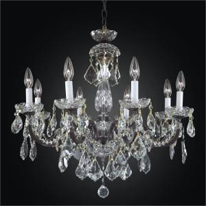 Iron and Crystal Chandelier - 8 Light Chandelier | Old World Iron 543A by GLOW Lighting