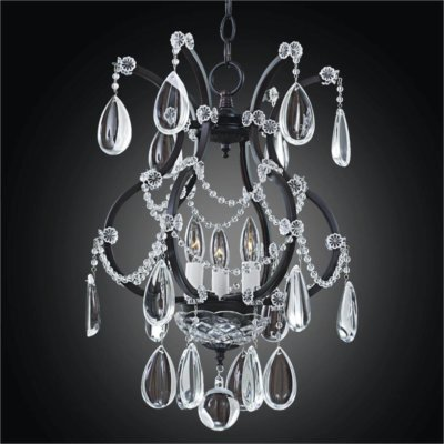 Midnight Iron Crystal Mini Chandelier | Old World Iron 543
