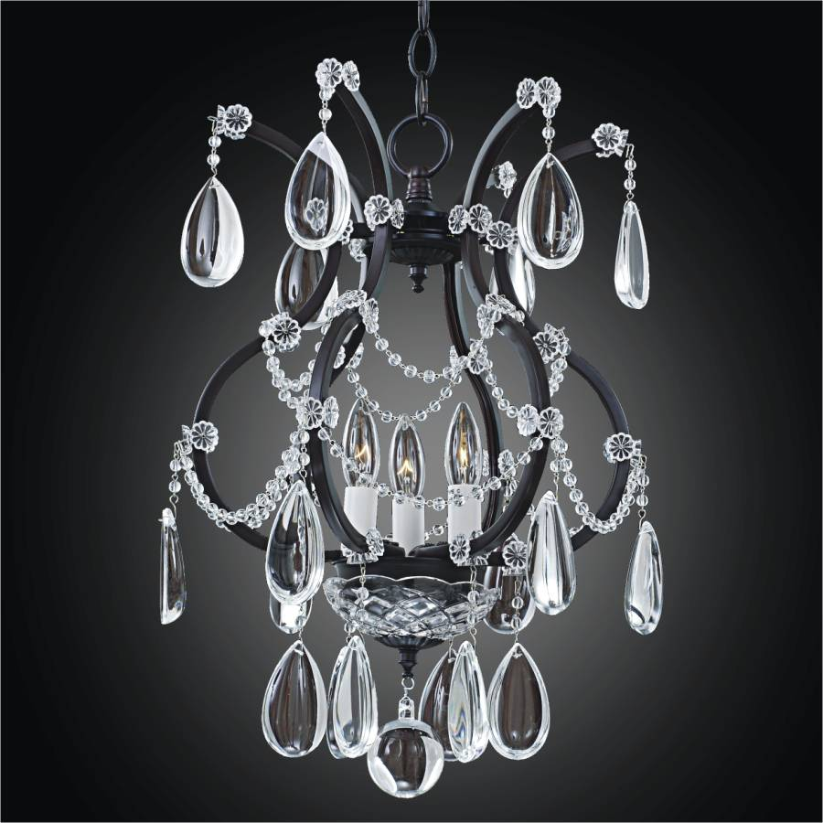 Black Iron Chandelier – Mini Crystal Chandelier | Old World Iron 543HD3LCB-7C by GLOW Lighting