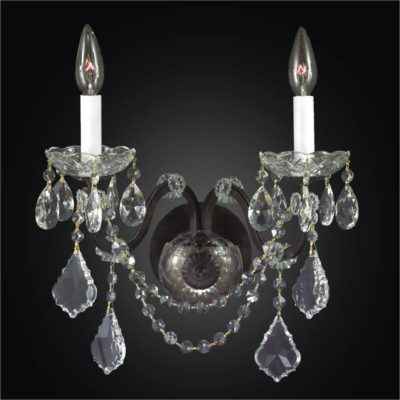 Iron Wall Sconce – 2 Light Crystal Wall Sconce | Old World Iron 543A