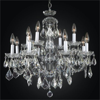 Wrought Iron 12 Light Crystal Chandelier | Old World Iron 543