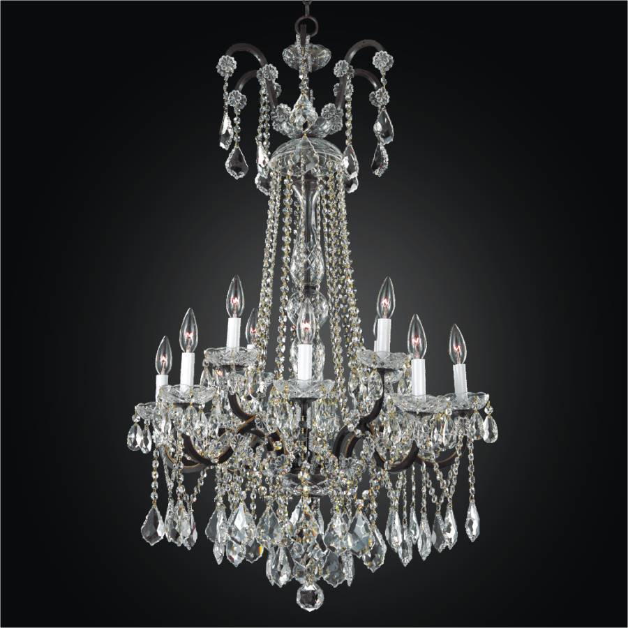 wrought and with iron lights massive rock chandelier crystal