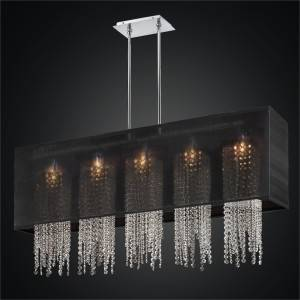 Rectangular Shade Chandelier with Crystal Strands | Omni 627A