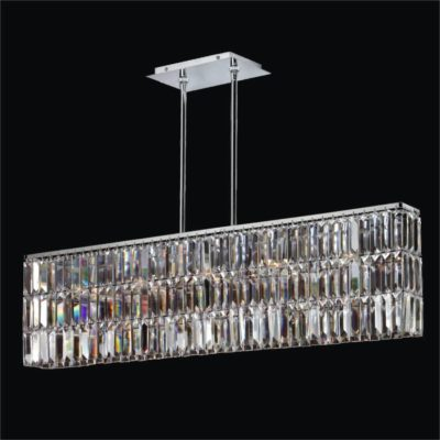 Rectangular Pendant Chandelier with Rectangular Shaped Crystal   Reflections 600