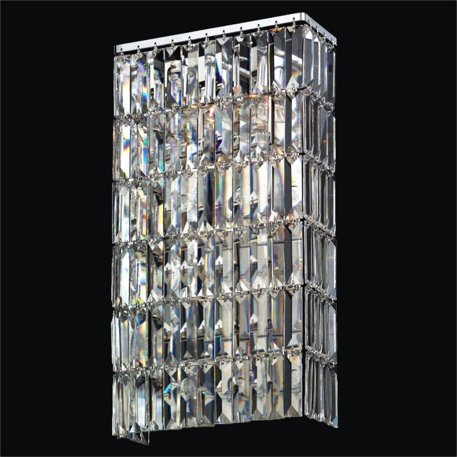 Rectangular Wall Sconce with Rectangular Elongated Crystal Reflections 600 GLOW Lighting