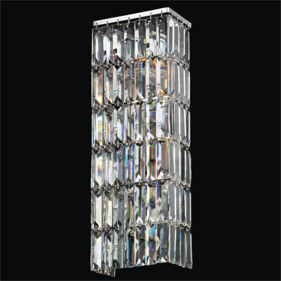 Long Vertical Wall Sconces : Rectangular Wall Sconce with Rectangular Elongated Crystal Reflections 600 GLOW Lighting