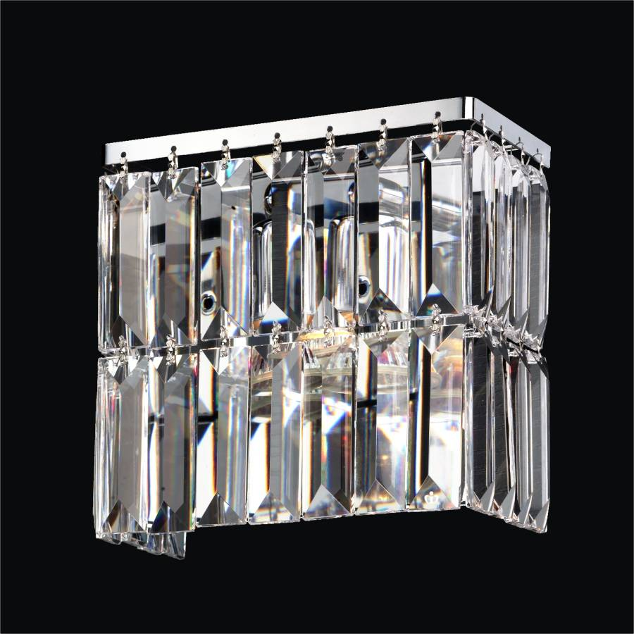 Crystal bathroom light reflections 600 glow lighting rectangular wall sconce with rectangular crystals reflections 600lw7 7sp 3c aloadofball Images