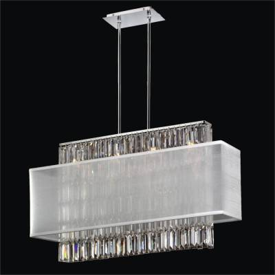 Rectangular Shade Pendant Chandelier with Rectangular Crystal | Reflections 600