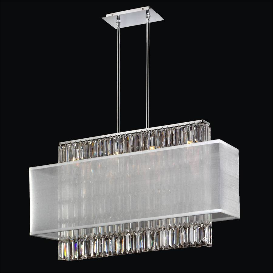 Rectangular Crystal Chandelier – Rectangular Shade  | Reflections 600LM33-19SP-2-3C