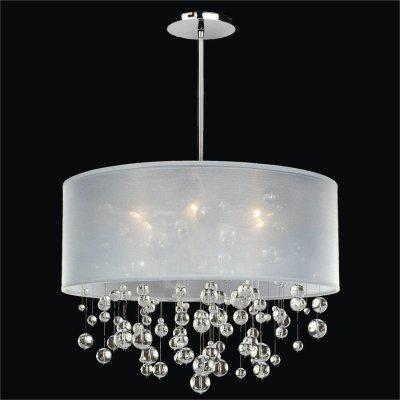 Drum Shaded Crystal Bead Pendant Chandelier | Silhouette 590