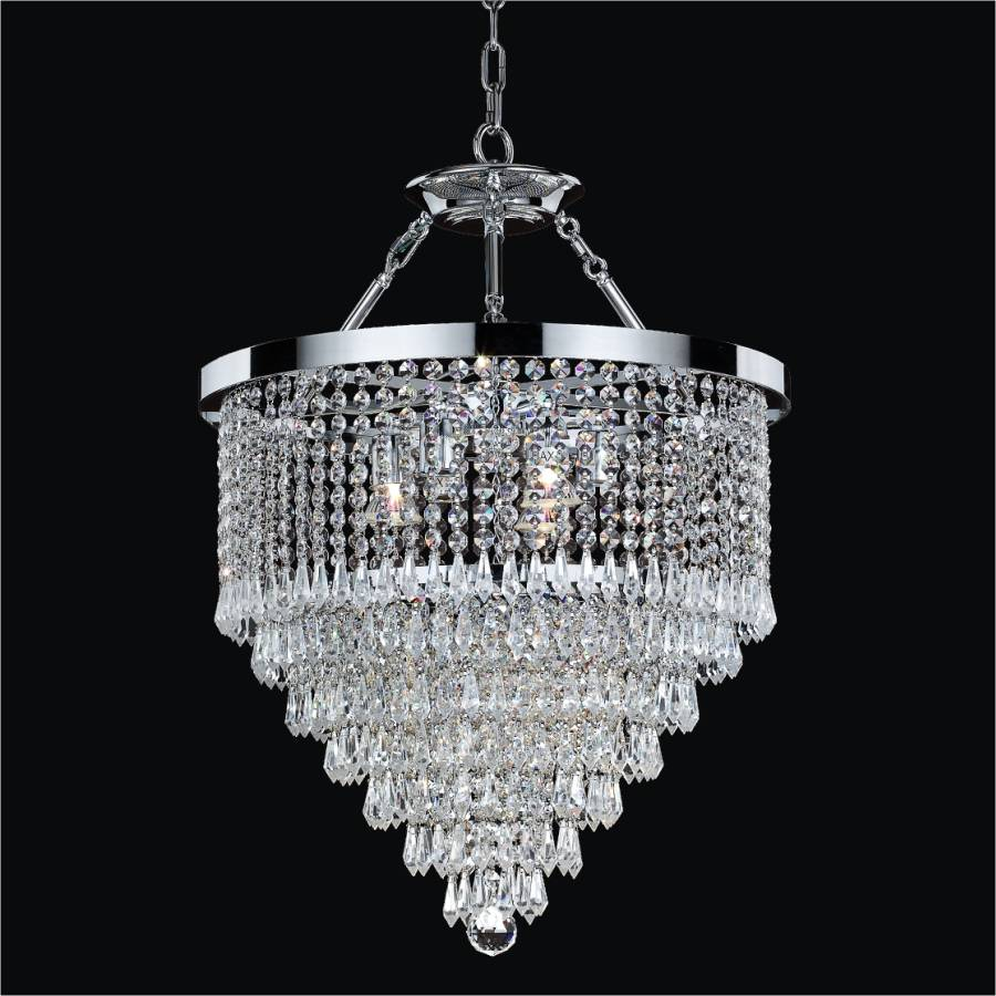 Crystal Teardrop Semi Flush Chandelier Spellbound 605