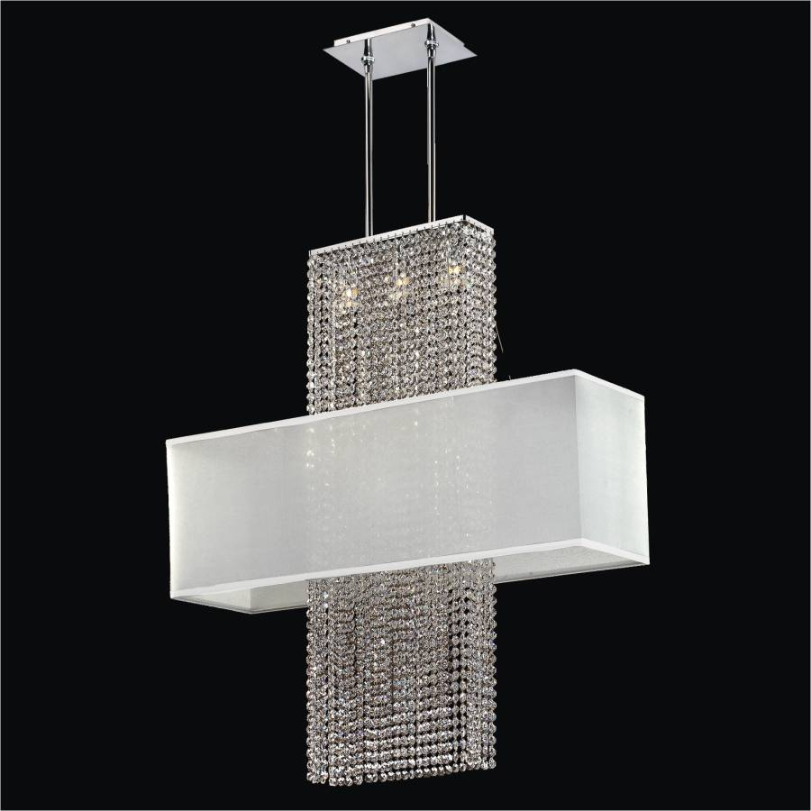Rectangular Shade Crystal Chandelier | Urban Essentials 595EM33-38SP-W-3C