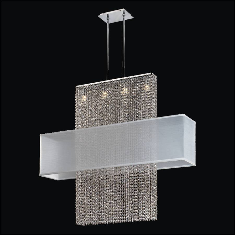 Rectangular Shade Crystal Chandelier | Urban Essentials 595EM44-42SP-W-3C