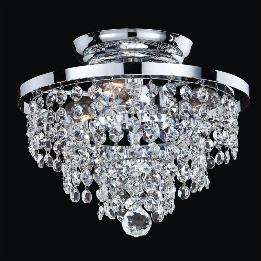 Small crystal ceiling light fixture vista 628a by glow lighting