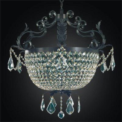 Wrought Iron and Crystal Basket Chandelier | Wrought Iron 541